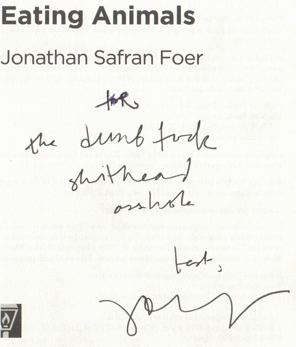 Jonathan Safran Foer signed book