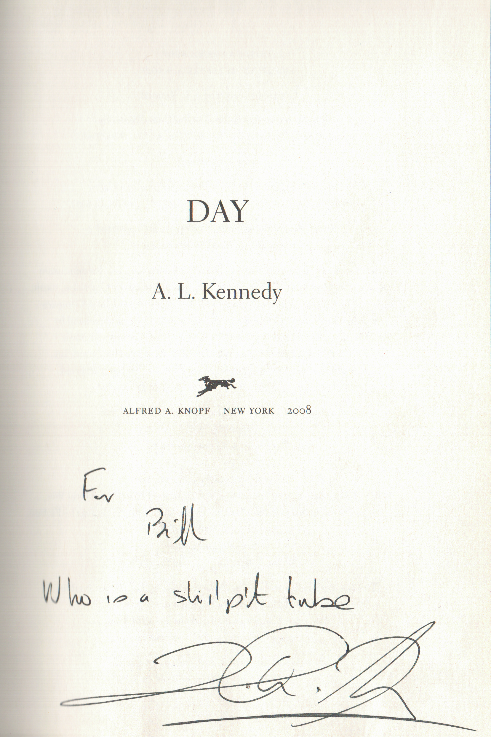 A.L. Kennedy Day signed