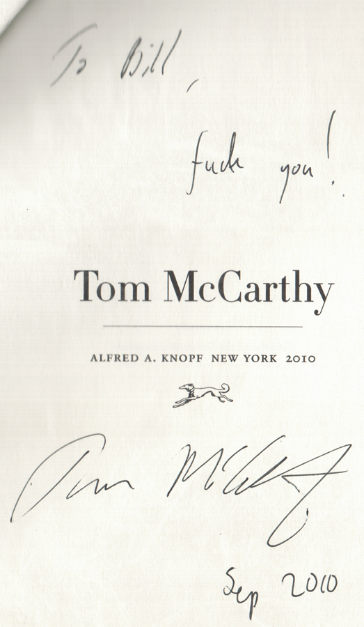 Tom McCarthy signed book